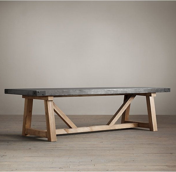 Rh's Salvaged Wood & Concrete Beam Rectangular Dining Table:our Regarding Well Liked Helms Rectangle Dining Tables (View 13 of 20)