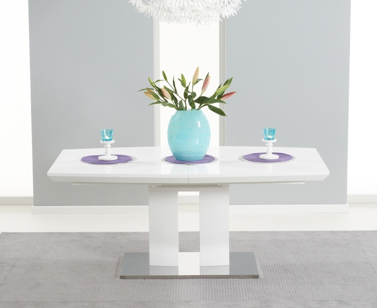 Richmond 180Cm White High Gloss Extending Dining Table Intended For Popular High Gloss White Extending Dining Tables (View 13 of 20)