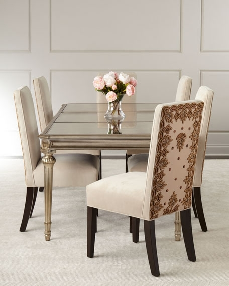 Roberta Antiqued Mirrored Dining Table Throughout Favorite Mirrored Dining Tables (View 15 of 20)