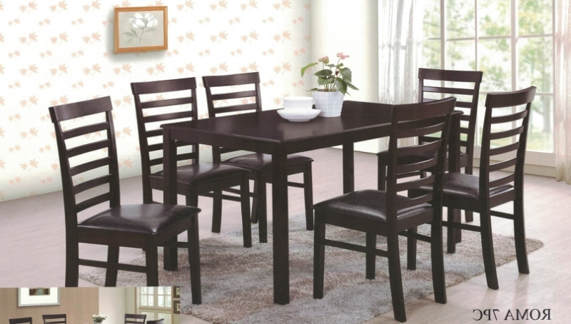 Roma 7Pc 7 Pc Roma Espresso Finish Wood Dining Table Set Within Famous Roma Dining Tables (View 18 of 20)
