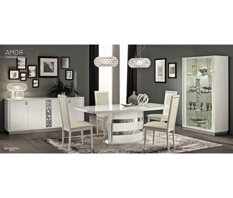 Roma Dining Room Set In White High Gloss Finishcamelgroup, Made Intended For Well Liked Roma Dining Tables And Chairs Sets (View 12 of 20)