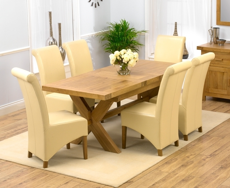 Roma Dining Tables And Chairs Sets Pertaining To Best And Newest Padova Solid Oak 160Cm Extending Dining Set With 4 Rome Cream Chairs (View 15 of 20)