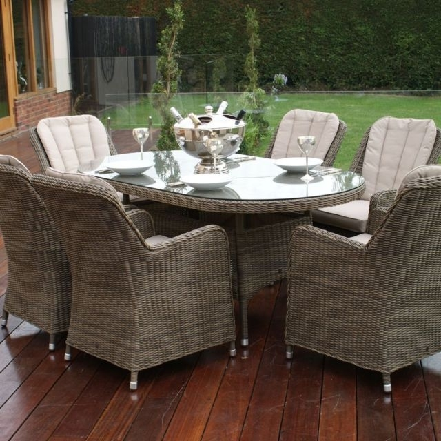 Roma Dining Tables And Chairs Sets Pertaining To Well Liked Dorchester Rome Rattan Garden Furniture Oval 6 Seater Dining Table (View 16 of 20)
