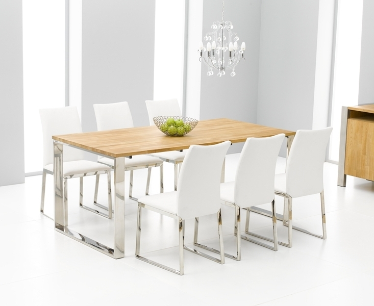 Roseta Oak Chrome Dining Table Oak Furniture Solutions Dining Room With Preferred White Dining Tables With 6 Chairs (View 18 of 20)