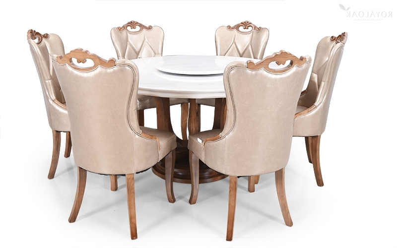 Round 6 Seater Dining Tables Regarding 2018 Buy Royaloak Reyan 6 Seater Solid Oakwood Dining Set With Italian (View 14 of 20)