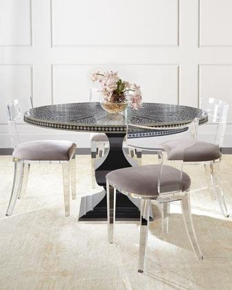 Round Acrylic Dining Tables Regarding 2017 Bernhardt Vivian Black Inlay Dining Table And Nessy Clear Acrylic (Gallery 11 of 20)