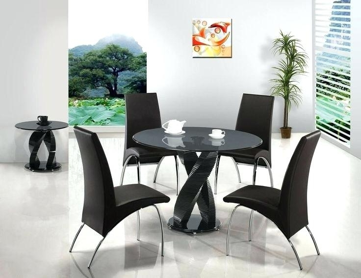 Round Black Glass Dining Tables And 4 Chairs Intended For Well Known Black Glass Round Dining Table And Chairs Black Metal Wood Round (View 16 of 20)