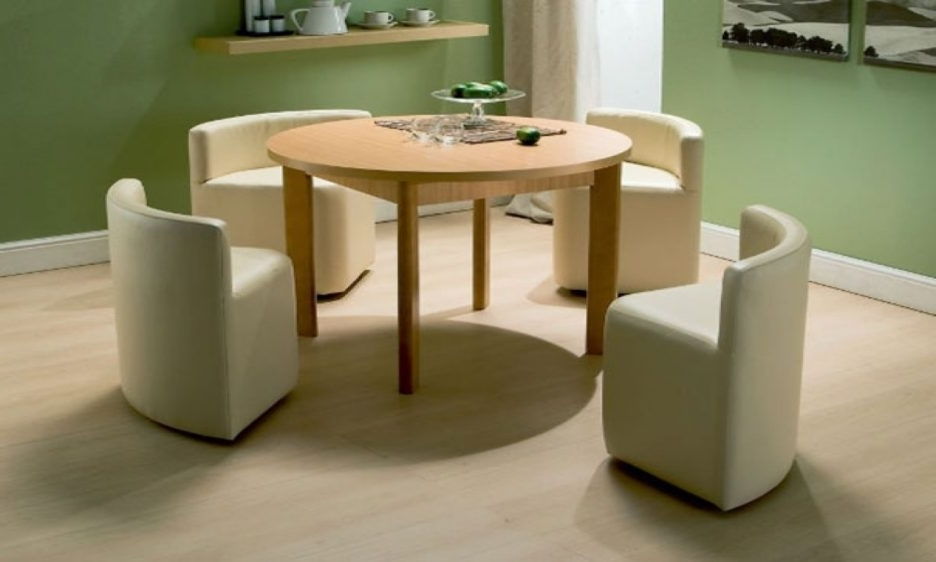 Round Cream Lacquer Oak Wood Dining Table With Tall Legs Added 4 For Widely Used Cream Lacquer Dining Tables (View 17 of 20)