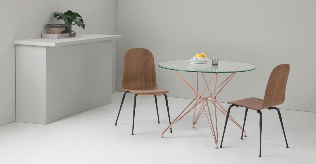 Round Dining Tables With Most Current Belden Round Dining Table, Glass And Copper (Gallery 19 of 20)