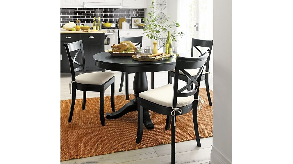 "Round Extending Dining Tables And Chairs With Regard To Trendy Avalon 45"" Black Round Extension Dining Table + Reviews (View 16 of 20)"