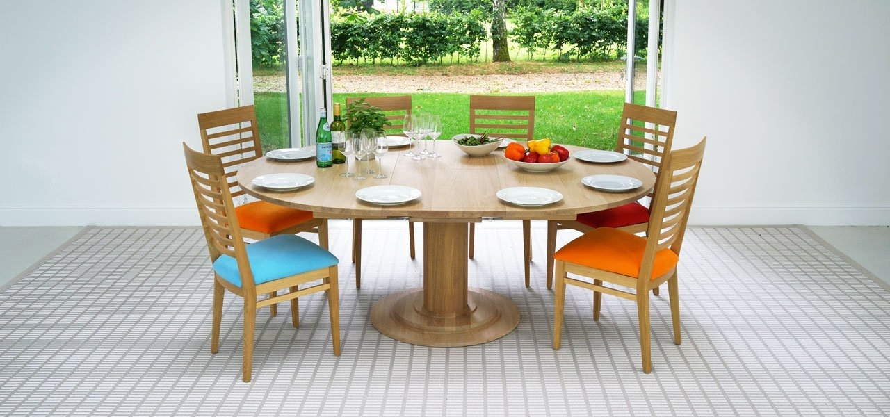 Round Extending Dining Tables Regarding Colourful Dining Tables And Chairs (View 16 of 20)