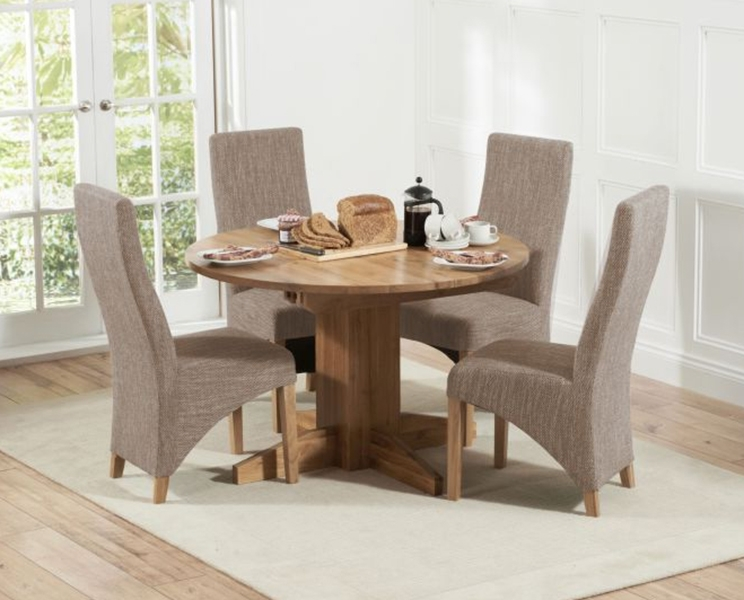 Round Extending Oak Dining Tables And Chairs Intended For Most Popular Dorchester 120Cm Solid Oak Round Extending Dining Table With Henley (View 16 of 20)