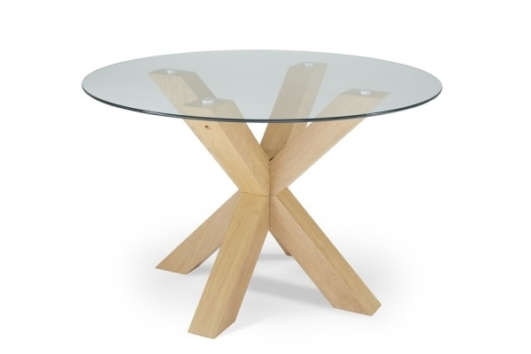 Round Glass And Oak Dining Tables Throughout Most Current Serene Romford 120Cm Round Dining Table Glass/oak (View 2 of 20)