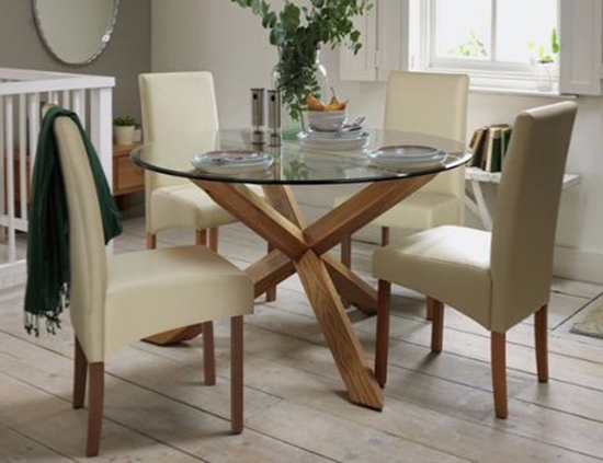 Round Glass Dining Tables With Oak Legs Regarding Most Up To Date Modern White Oak Dining Table Glass Legs Seats 6 8 Pertaining To For (View 2 of 20)