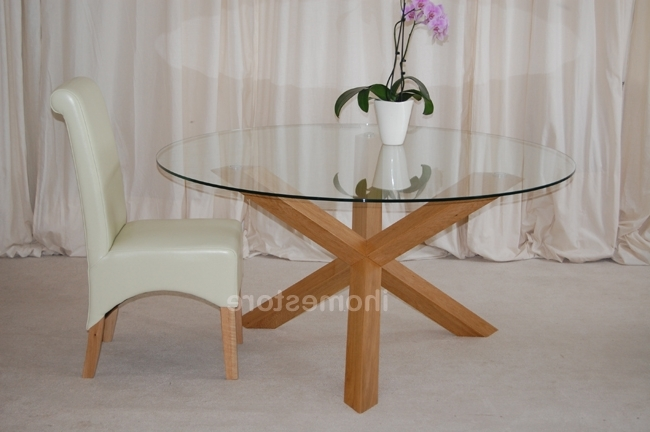 Round Glass Dining Tables With Oak Legs Regarding Newest Glass Top Coffee Table With Silver Legs (Gallery 7 of 20)