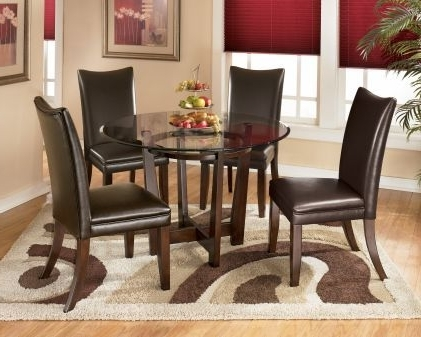 Round Glass, Glass Dining Within Most Up To Date Palazzo 6 Piece Dining Set With Mindy Slipcovered Side Chairs (View 19 of 20)