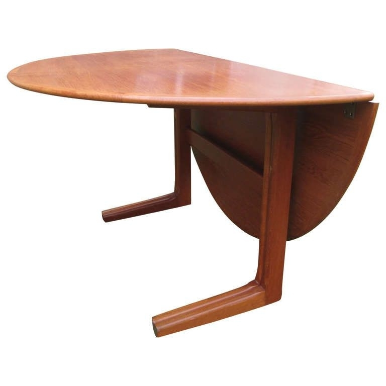 Round Half Moon Dining Tables Regarding Well Liked Danish Teak Round Drop Leaf Dining Table (View 15 of 20)