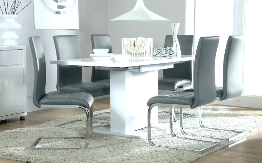 Round High Gloss Dining Table White And Gray Dining Table Astounding Regarding Favorite White High Gloss Dining Tables 6 Chairs (View 15 of 20)