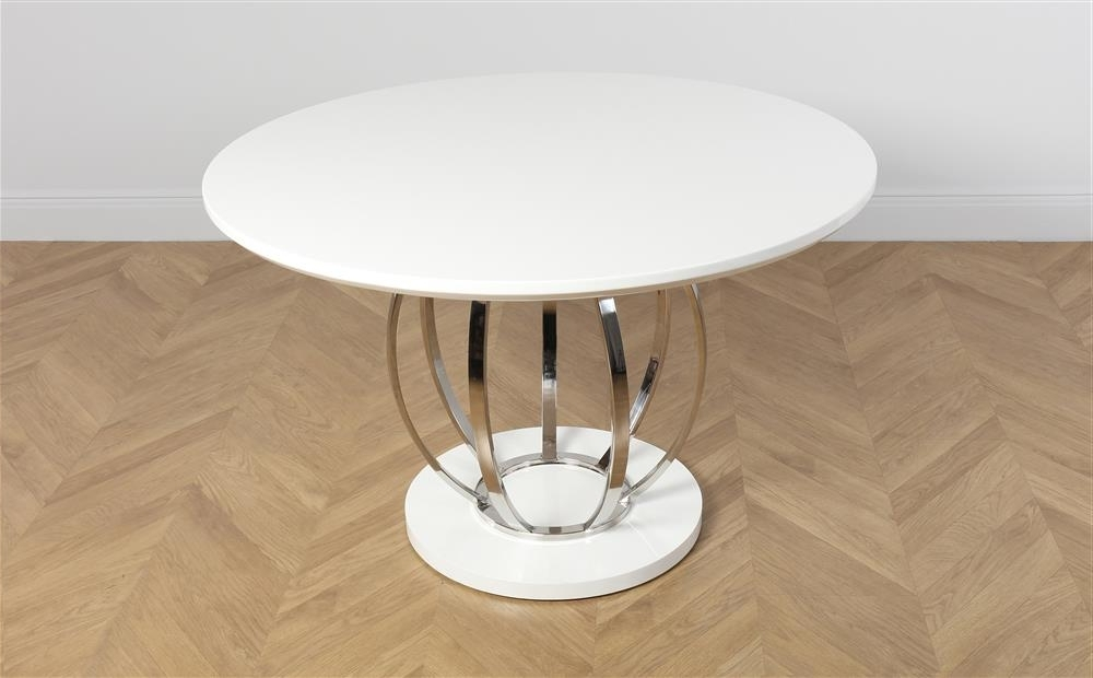 Round High Gloss Dining Tables Pertaining To Popular Savoy Round White High Gloss And Chrome Dining Table Only £ (View 10 of 20)