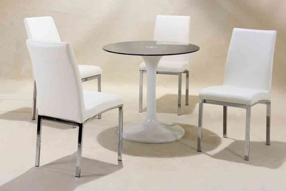 Round High Gloss Dining Tables Pertaining To Recent Small Round White High Gloss Glass Dining Table And 4 Chairs (View 17 of 20)