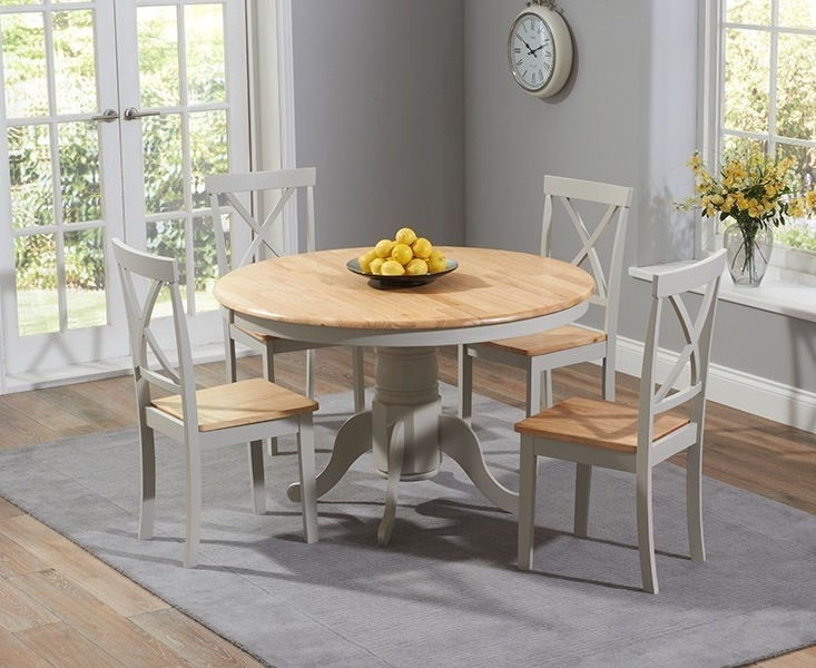 Round Oak Dining Tables And 4 Chairs Inside Famous Elstree 120Cm Painted Oak & Grey Round Dining Table + 4 Chairs (View 12 of 20)