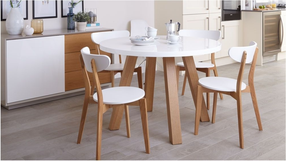 Round Oak Dining Tables And 4 Chairs Inside Trendy Unbelievable White Gloss And Oak 4 Seater Dining Set Round Dining (View 13 of 20)