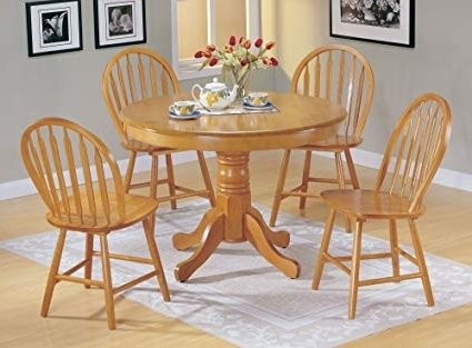 Round Oak Dining Tables And 4 Chairs Pertaining To Well Known Amazon: 5Pc Country Style Oak Finish Wood Round Dining Table + (View 16 of 20)