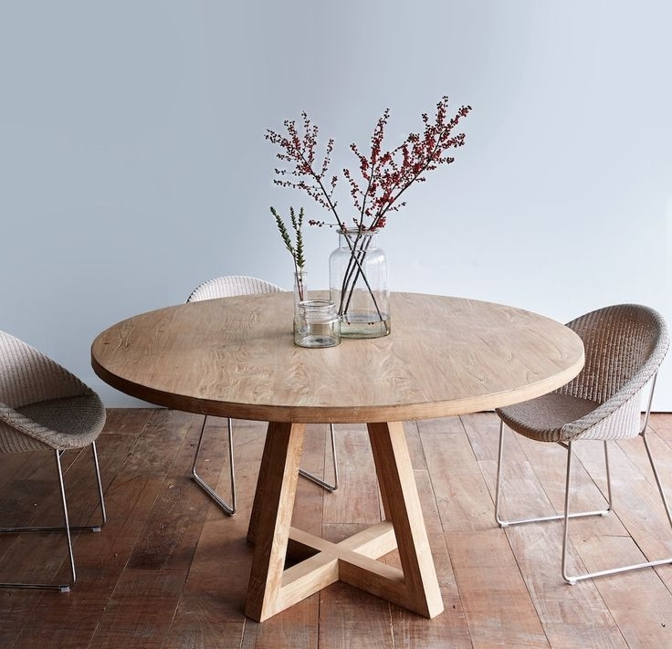 Round Teak Dining Tables In Famous Cross Leg Round Dining Table Whitewashed Teak  (View 14 of 20)