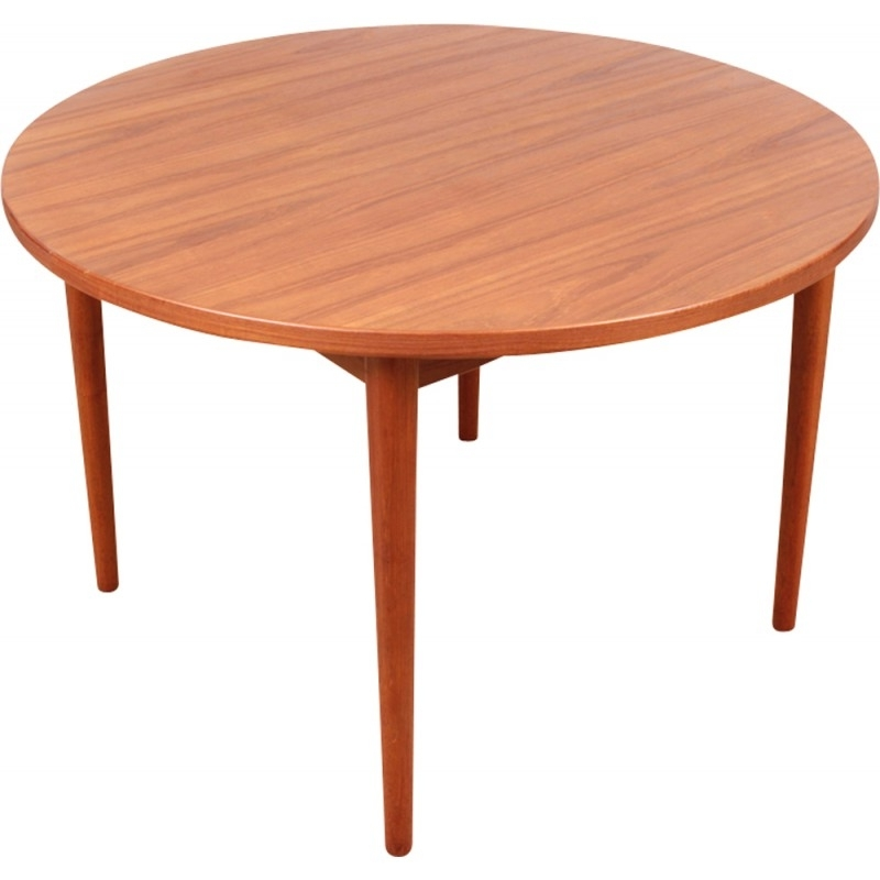 Round Teak Dining Tables Within Most Up To Date Scandinavian Round Teak Dining Table With 1 Extensionnils (View 15 of 20)