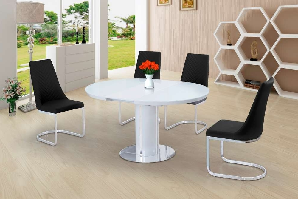 Round White Glass High Gloss Dining Table And 6 Black Chairs Throughout Newest Black High Gloss Dining Tables And Chairs (View 16 of 20)