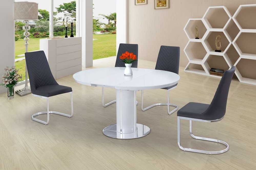 Round White Glass High Gloss Dining Table And 6 Grey Chairs With 2017 Oval White High Gloss Dining Tables (View 17 of 20)