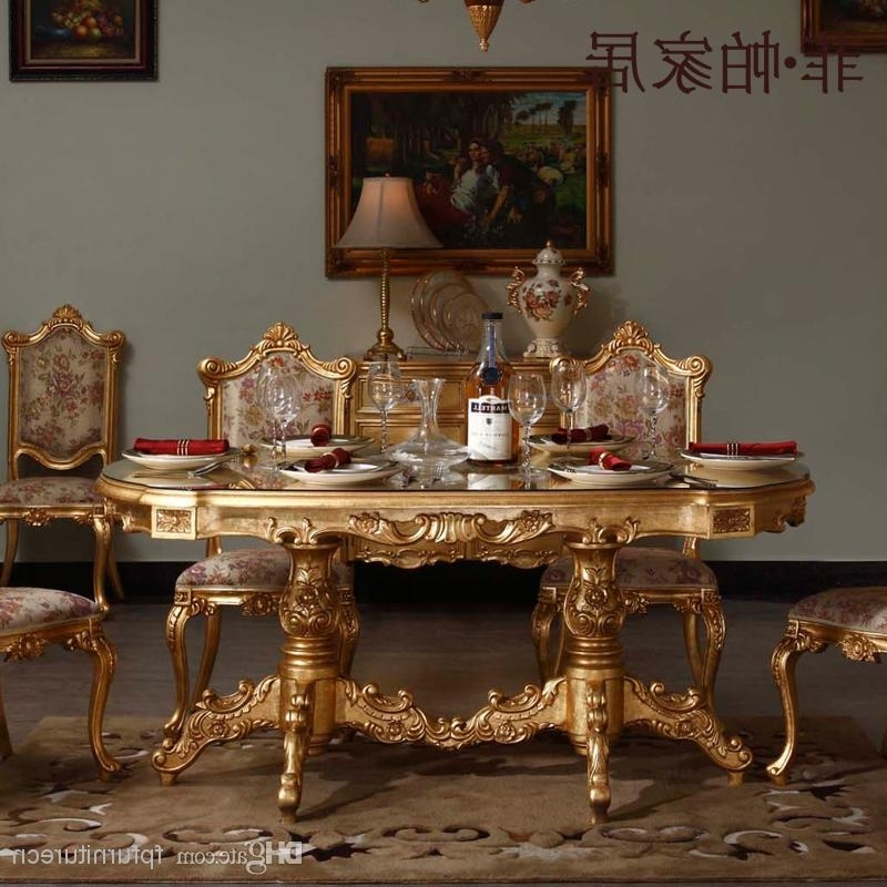 Royal Dining Tables Pertaining To Fashionable Royal Classic Furniture – Handwork Gilding Golden Foil Royalty (View 13 of 20)
