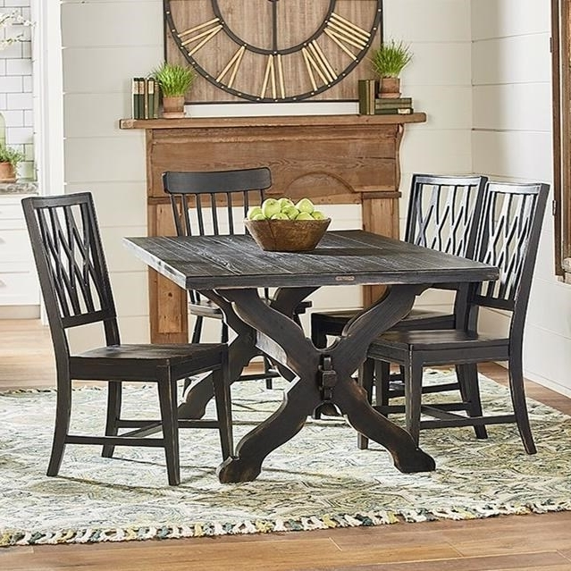 Rustic Trestle Table And Chair Setmagnolia Homejoanna Gaines With Regard To Latest Magnolia Home Sawbuck Dining Tables (View 15 of 20)