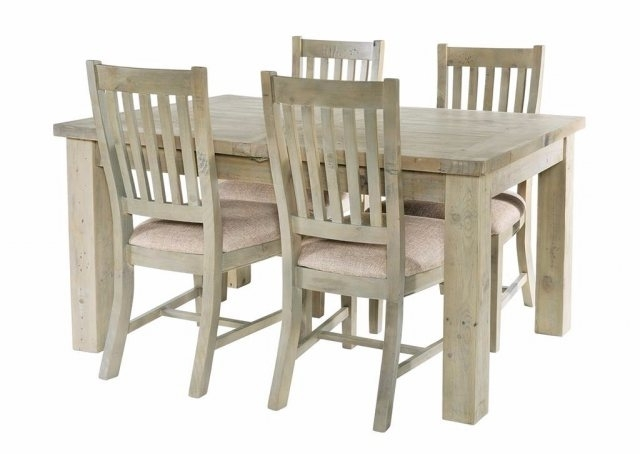Salcombe Reclaimed Pine 140Cm Extendable Dining Table Set & 4 Chairs With Regard To Most Recent Extendable Dining Tables And 4 Chairs (View 15 of 20)