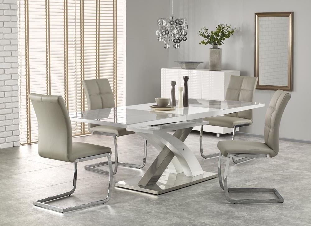 Sandor 2 160 220Cm Grey Glass & White High Gloss Modern Extendable With Regard To 2017 High Gloss Extendable Dining Tables (Gallery 1 of 20)