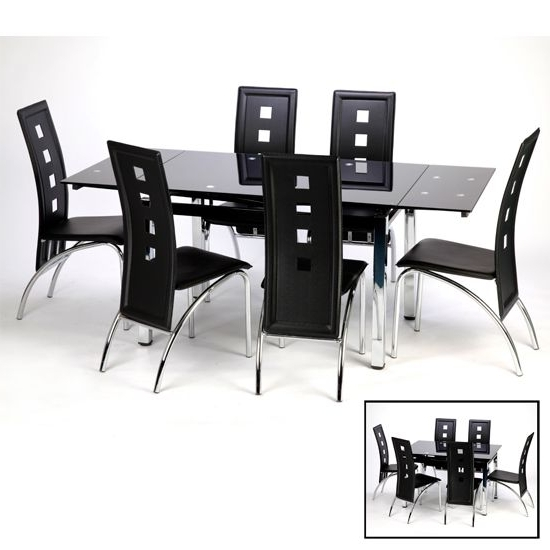 Sarah Extending Black Dining Table Set With 6 Bellini Chairs Inside Well Known Extending Black Dining Tables (Gallery 20 of 20)