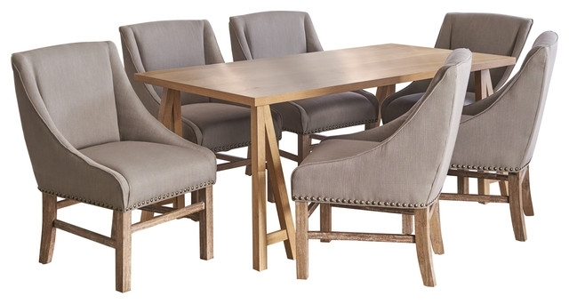 Sarrave Farmhouse Natural Oak 7 Piece Dining Set With Silver Fabric Throughout Most Recent Walden 7 Piece Extension Dining Sets (View 12 of 20)