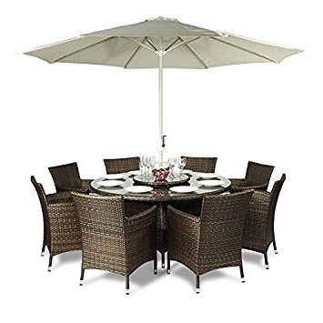 Savannah Rattan Garden Furniture Round Glass Dining Table And 8 Seat Inside Preferred Wicker And Glass Dining Tables (View 18 of 20)