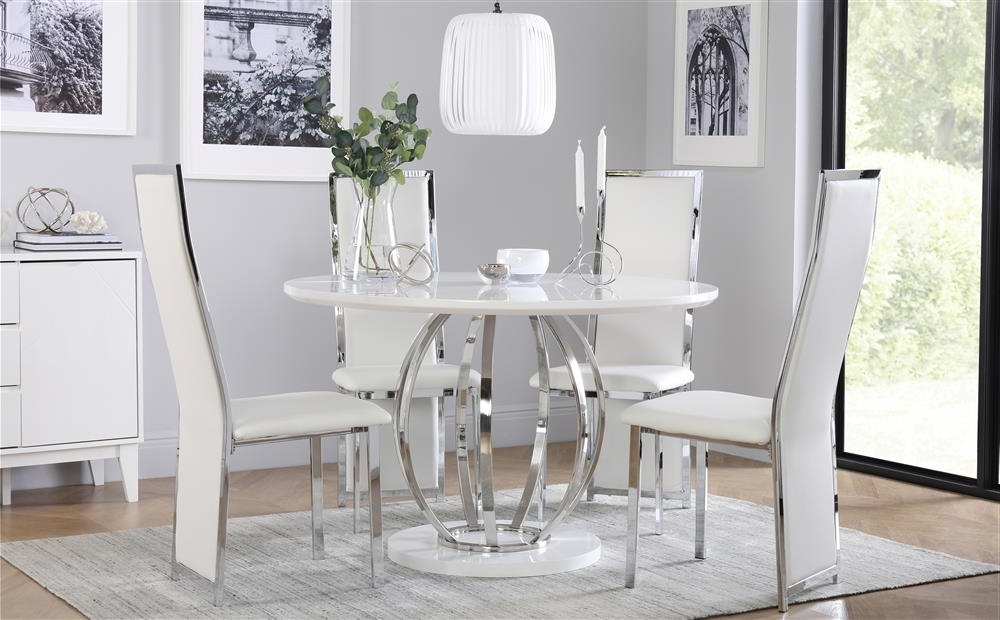 Savoy Round White High Gloss And Chrome Dining Table With 4 Celeste In Trendy Round High Gloss Dining Tables (View 3 of 20)