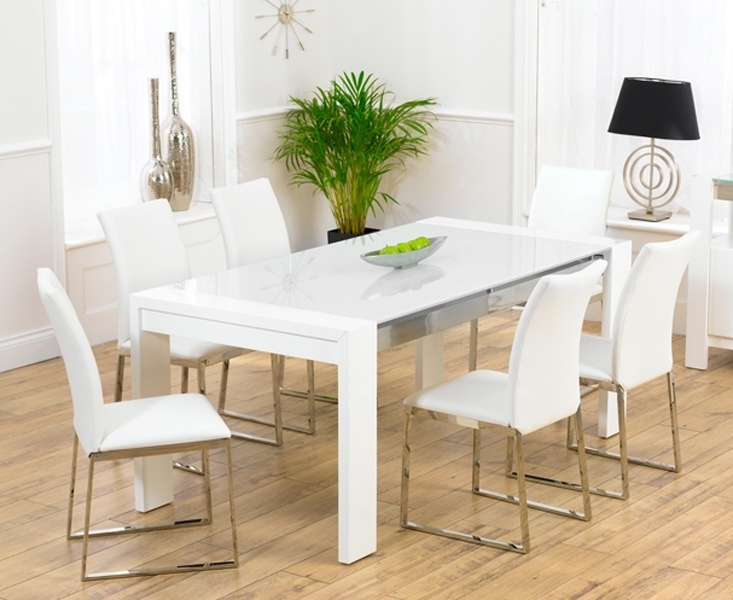 Scala White Gloss Dining Table Tufted Leather Dining Chair Throughout Popular White Dining Tables And 6 Chairs (View 15 of 20)