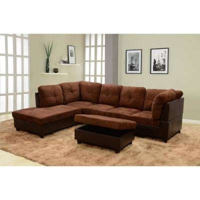 Sectionals – Living Room Furniture – The Home Depot With 2017 Gordon 3 Piece Sectionals With Raf Chaise (View 10 of 15)