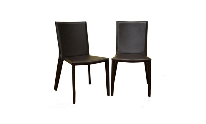 Semele Dark Brown Leather Dining Chair (Set Of 2) (View 18 of 20)