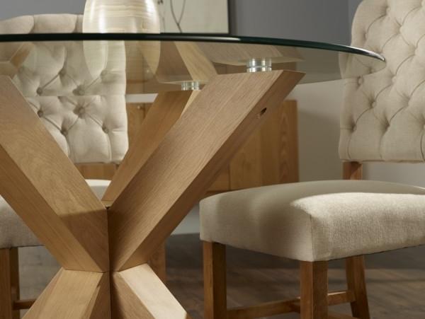 Serene Romford 120Cm Round Dining Table Glass/oak Throughout Most Recent Glass Oak Dining Tables (View 15 of 20)