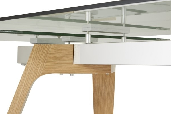 Serene Seville Extending Dining Table 160Cm/200Cm Clear Glass With For 2018 Glass Oak Dining Tables (View 16 of 20)
