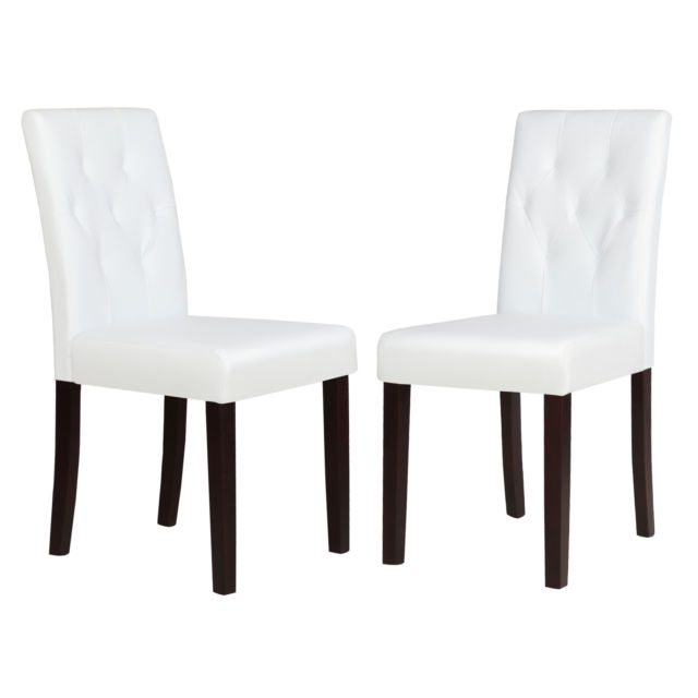 Set Of 2 Ivory White Leather Dining Room Chair Kitchen Dinette W Inside Most Popular White Leather Dining Room Chairs (View 5 of 20)