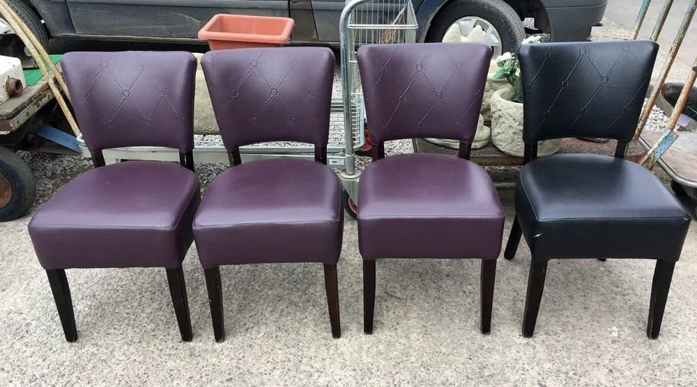 Set Of 4 Mix Purple / Black Faux Leather Dining Chairs / Cafe / Bar With Regard To Fashionable Purple Faux Leather Dining Chairs (Gallery 6 of 20)