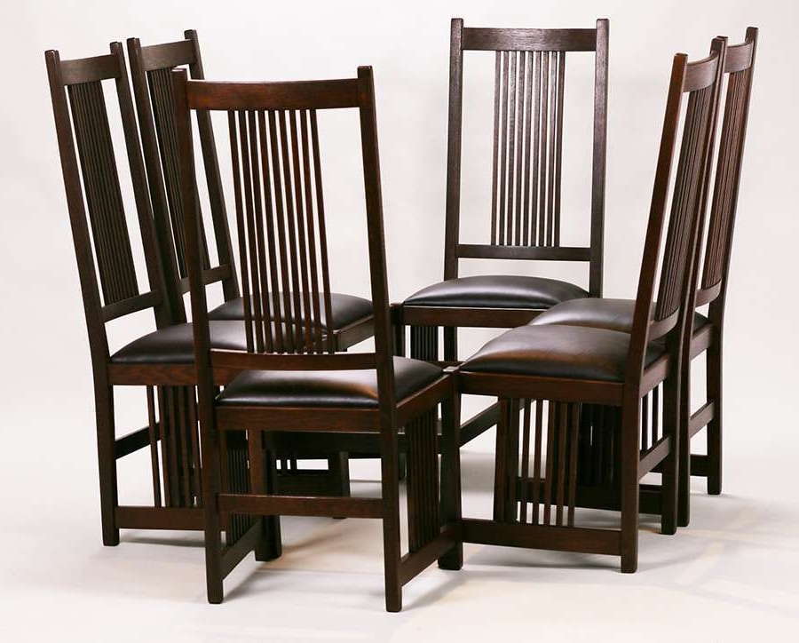 Set Of 6 Gustav Stickley Tall, Spindled Side Chairs (View 18 of 20)