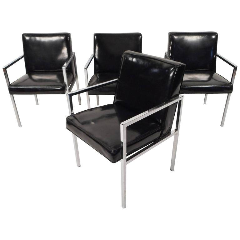 Set Of Mid Century Modern Vinyl And Chrome Dining Chairs For Sale At Intended For Widely Used Chrome Dining Chairs (View 16 of 20)
