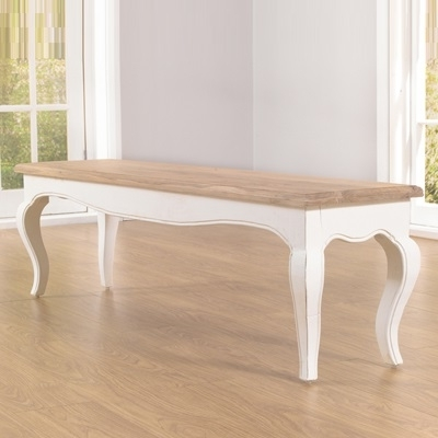 Seville Ivory Painted Distressed Dining Bench Regarding Latest Ivory Painted Dining Tables (View 20 of 20)