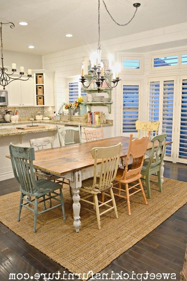 Shabby Chic Dining Chairs Pertaining To Famous Shabby Chic Table And Mismatched Chairs Dining Room (View 6 of 20)